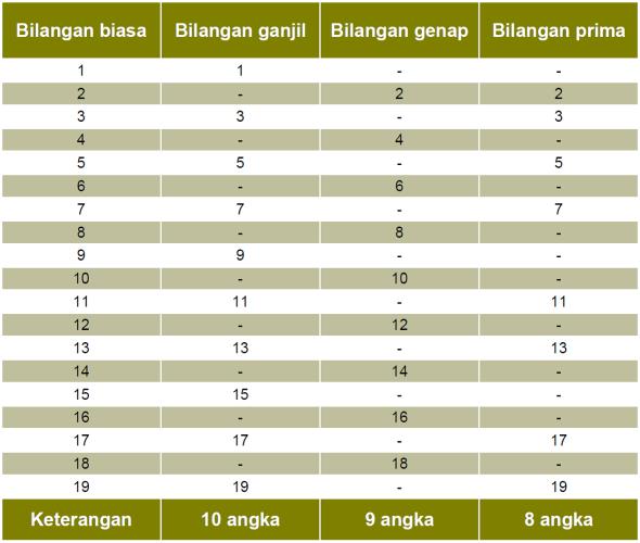 STRUKTUR BILANGAN PRIMA 19 DG KOMBINASI (10+9)  & INDEKS ANGKA 8