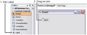 Gambar 9. Klik Dan Drag Label Ke Form 1